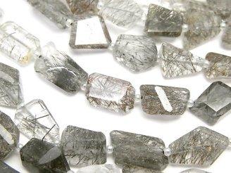 天然石卸 宝石質トルマリンクォーツAAA- フラットタンブルカット 半連/1連(約32cm)