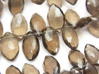 天然石卸 宝石質スモーキークォーツAAA マーキス ブリオレットカット 半連/1連(約20cm)