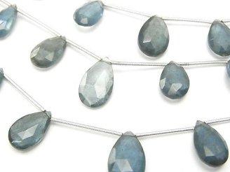天然石卸 宝石質モスアクアマリンAAA ペアシェイプ ブリオレットカット 1連(約14cm)