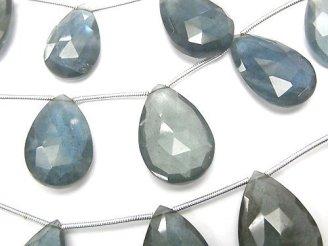 天然石卸 宝石質モスアクアマリンAAA 大粒ペアシェイプ ブリオレットカット 1連(約14cm)