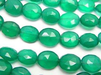 天然石卸 1連1,180円!宝石質グリーンオニキスAAA オーバルカット サイズグラデーション 1連(約18cm)