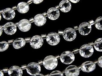 天然石卸 宝石質ホワイトトパーズAAA ラウンドファセットカット6×6×3mm 半連/1連(約18cm)