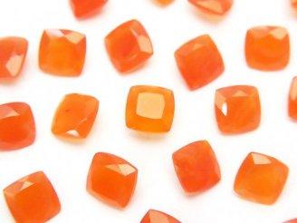 天然石卸 宝石質カーネリアンAAA 穴なしスクエアファセットカット7×7×4 5粒680円!