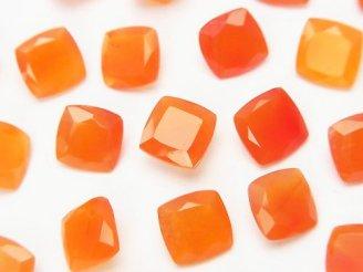 天然石卸 宝石質カーネリアンAAA 穴なしスクエアファセットカット8×8×4 5粒980円!