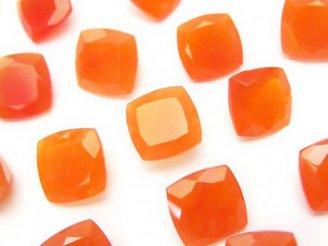 天然石卸 宝石質カーネリアンAAA 穴なしスクエアファセットカット10×10×5 3粒1,180円!