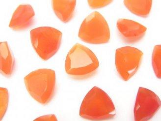 天然石卸 宝石質カーネリアンAAA 穴なしトライアングルファセットカット9×9×4 5粒980円!