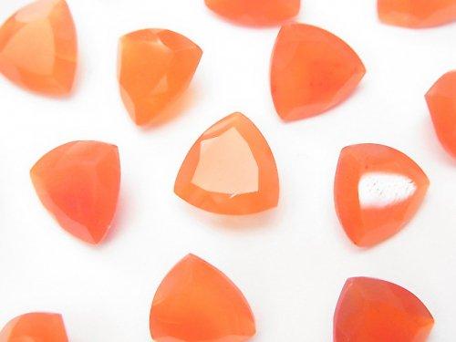 宝石質カーネリアンAAA 穴なしトライアングルファセットカット10×10×5mm 3粒