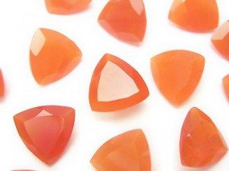 天然石卸 宝石質カーネリアンAAA 穴なしトライアングルファセットカット12×12×6 2粒880円!