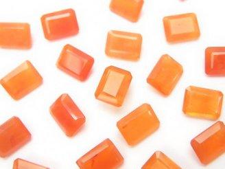 天然石卸 宝石質カーネリアンAAA 穴なしレクタングルファセットカット8×6×4 5粒780円!