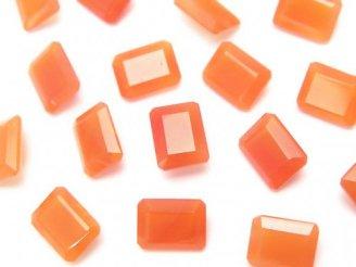 天然石卸 宝石質カーネリアンAAA 穴なしレクタングルファセットカット9×7×4 4粒880円!