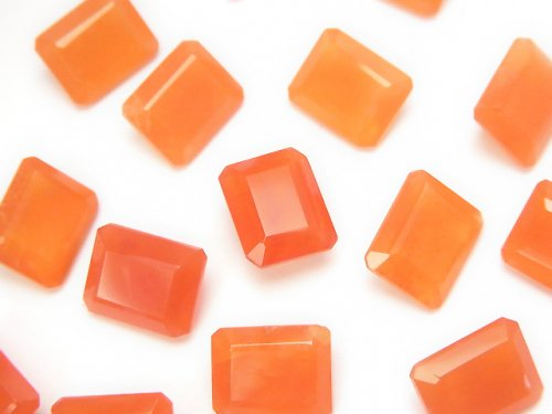 宝石質カーネリアンAAA 穴なしレクタングルファセットカット10×8mm 3粒