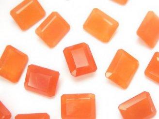 天然石卸 宝石質カーネリアンAAA 穴なしレクタングルファセットカット10×8×4mm 3粒880円!