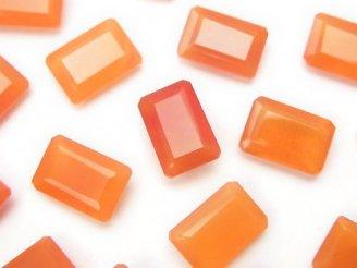 天然石卸 宝石質カーネリアンAAA 穴なしレクタングルファセットカット12×8×4mm 3粒1,180円!