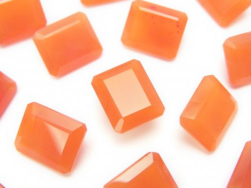 宝石質カーネリアンAAA 穴なしレクタングルファセットカット12×10mm 3粒