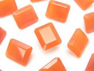 天然石卸 宝石質カーネリアンAAA 穴なしレクタングルファセットカット12×10×5 3粒1,580円!