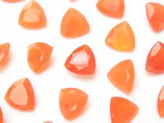 天然石卸 1点もの!宝石質カーネリアンAAA 穴なしトライアングルファセットカット8×8×4mm 34粒セット! NO.8