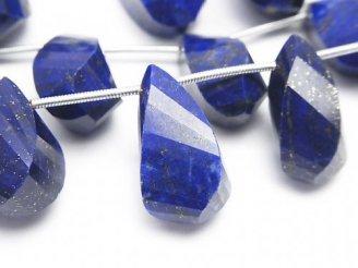 天然石卸 1連6,980円!宝石質ラピスラズリAAA-〜AA++ ドロップ4面ツイスト ブリオレットカット 1連(10粒)