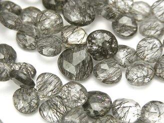 天然石卸 宝石質トルマリンクォーツAAA マロン ブリオレットカット 半連/1連(約18cm)