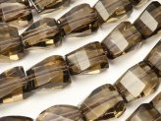 天然石卸 スモーキークォーツAAA 4面ツイスト×多面カット10×8×6mm 半連/1連(約38cm)