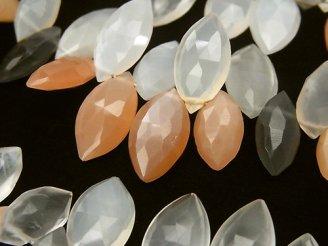 宝石質マルチカラームーンストーンAAA' マーキス ブリオレットカット 半連/1連(約18cm)