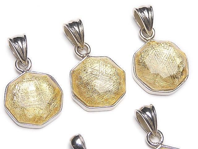 メテオライト(ムオニナルスタ隕石) 八角形型ペンダントトップ13×13×5mm イエローゴールド SILVER925製