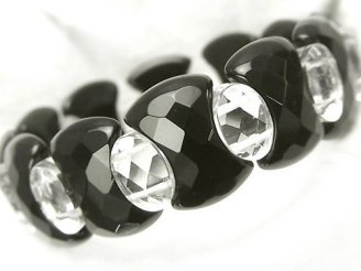 天然石卸 1連1,980円!オニキス&クリスタル 2つ穴オーバルカット&変形レクタングル 1連(ブレス)