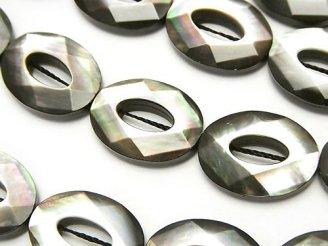 天然石卸 高品質ブラックシェル オーバルカット(ドーナツ)20×15×5mm 半連/1連(約36cm)