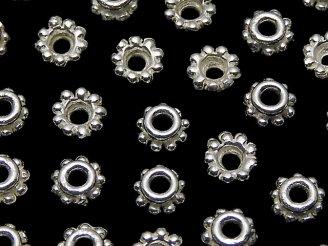 天然石卸 Silver925 ビーズキャップ4×4×2mm ホワイトシルバー 6個380円!