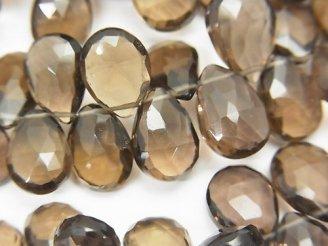 天然石卸 宝石質スモーキークォーツAAA ペアシェイプ ブリオレットカット 半連/1連(約18cm)