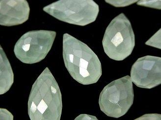 天然石卸 粒売り!宝石質パステルグリーンカラーカルセドニーAAA 大粒ドロップ ブリオレットカット コーティング 10粒