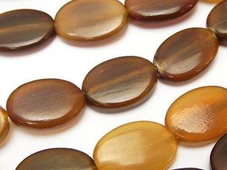 天然石卸 1連680円!バッファローホーン フラットオーバル18×13×5 ブラウン 1連(約37cm)