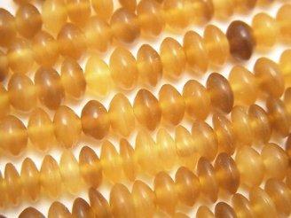 天然石卸 1連580円!バッファローホーン ボタン(ソロバン)6×6×3 ブラウン 1連(約38cm)