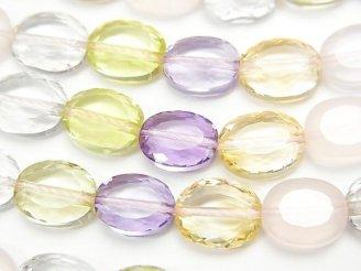 天然石卸 宝石質いろんな天然石AAA オーバルカット10×8×5 1/4連〜1連(約38cm)