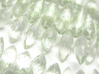 天然石卸 宝石質グリーンアメジストAAA マーキスライス ブリオレットカット 半連/1連(約18cm)