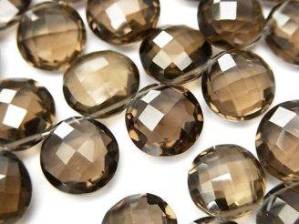 天然石卸 宝石質スモーキークォーツAAA- コインカット(クッションカット) 半連/1連(約20cm)
