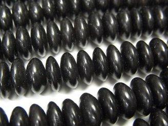 天然石卸 1連880円!バッファローホーン ボタン(ソロバン)8×8×3 ブラック 1連(約38cm)