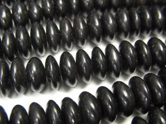 天然石卸 1連880円!バッファローホーン ボタン(ソロバン)8×8×3mm ブラック 1連(約38cm)