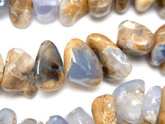 天然石卸 1連1,180円!ブルーカルセドニーAA+ 母岩付 大粒チップ(ミニタンブル) 1連(約38cm)