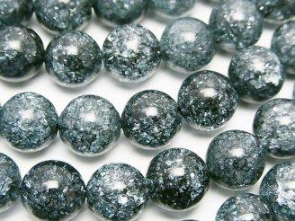 天然石卸 1連880円!ブルーカラー4 クラッククリスタル ラウンド10mm 1連(約36cm)