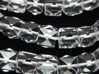 天然石卸 素晴らしい輝き!クリスタルAAA+ スタッズ型キューブカット8mm 半連/1連(約18cm)