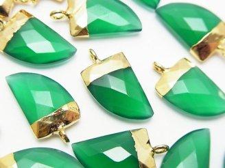天然石卸 2個980円!グリーンオニキスAAA ポイント型チャーム15×10×5 ゴールドカラー 2個