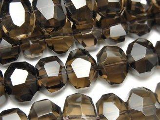 天然石卸 素晴らしい輝き!宝石質スモーキークォーツAAA フラットタンブルカット 【ライトカラー】 半連/1連(約38cm)