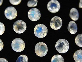 天然石卸 宝石質レインボームーンストーンAAA 穴なしラウンドファセットカット6×6×3mm 3粒1,380円!