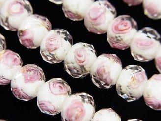 天然石卸 とんぼ玉 ボタンカット10×10×7mm 薔薇(ローズ)模様入り 【ホワイト×シルバー】 半連/1連(約34cm)