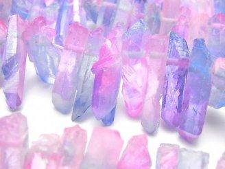 天然石卸 1連1,280円!クリスタル 氷柱カット メタリックコーティング ブルー&ピンク系 1連(約37cm)