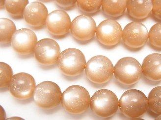 天然石卸 宝石質オレンジムーンストーンAAA ラウンド8mm 1/4連〜1連(約38cm)