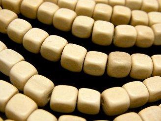 天然石卸 1連380円!ホワイトウッド キューブ6×6×6 1連(約38cm)