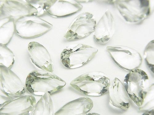 宝石質グリーンアメジストAAA 穴なしペアシェイプファセットカット8×5×3mm 5粒