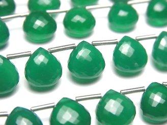 天然石卸 極上カット!宝石質グリーンオニキスAAA マロン ブリオレットカット 1連(10粒)