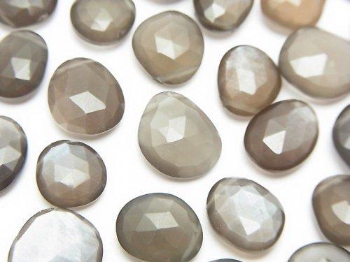 【粒売り】宝石質グレームーンストーンAAA 横穴フ リーフォーム ローズカット 5粒